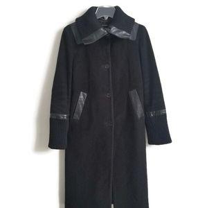 MACKAGE coat long wool leather trim cashmere sz M